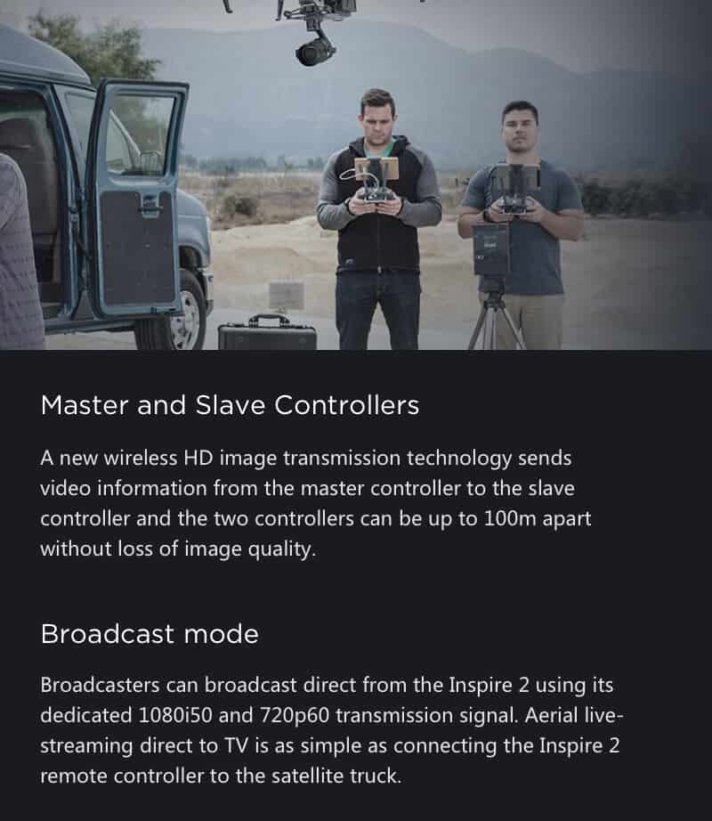 Inspire 2 Drone Specs Master and Slave Controllers JWStuff